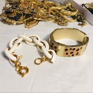 J. Crew Leopard and Enamel Link Bracelet Bundle
